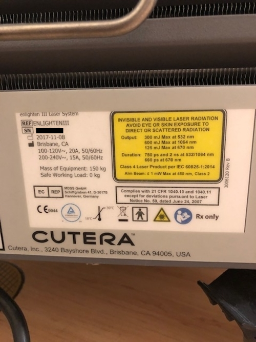 Used CUTERA Enlighten YAG Laser For Sale - Bimedis ID1395591