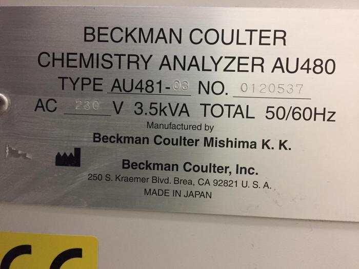 Refurbished BECKMAN COULTER AU480 Biochemical Analyzer For Sale - Bimedis  ID1381936